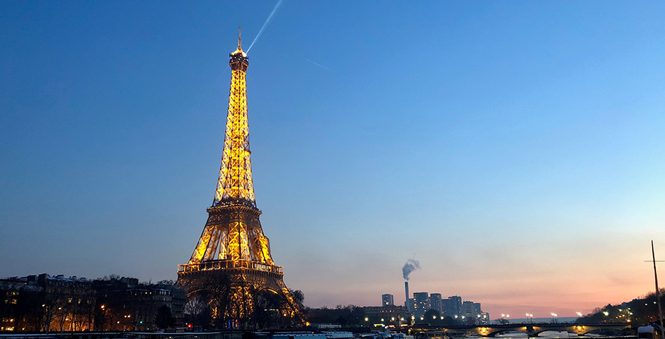 The Eiffel Tower at sunset, France